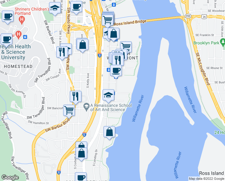 map of restaurants, bars, coffee shops, grocery stores, and more near 677 Southwest Lowell Street in Portland