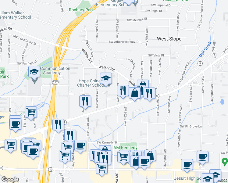 map of restaurants, bars, coffee shops, grocery stores, and more near 3565 Southwest 103rd Avenue in Beaverton