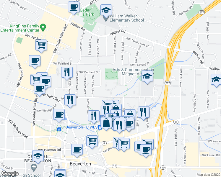 map of restaurants, bars, coffee shops, grocery stores, and more near 11981 Southwest Center Street in Beaverton