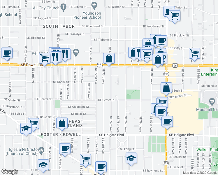 map of restaurants, bars, coffee shops, grocery stores, and more near 3725 Southeast 74th Avenue in Portland