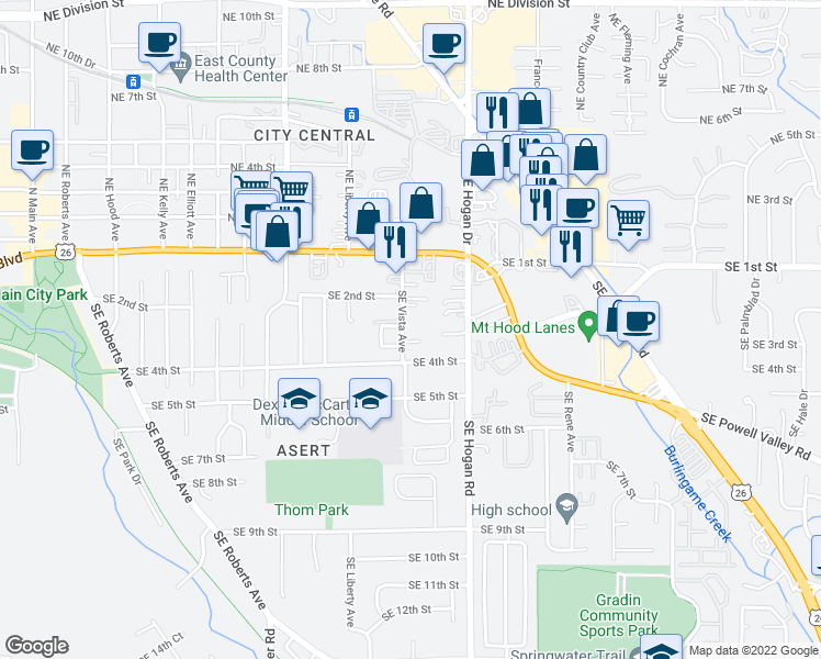 map of restaurants, bars, coffee shops, grocery stores, and more near 250 Southeast Vista Avenue in Gresham
