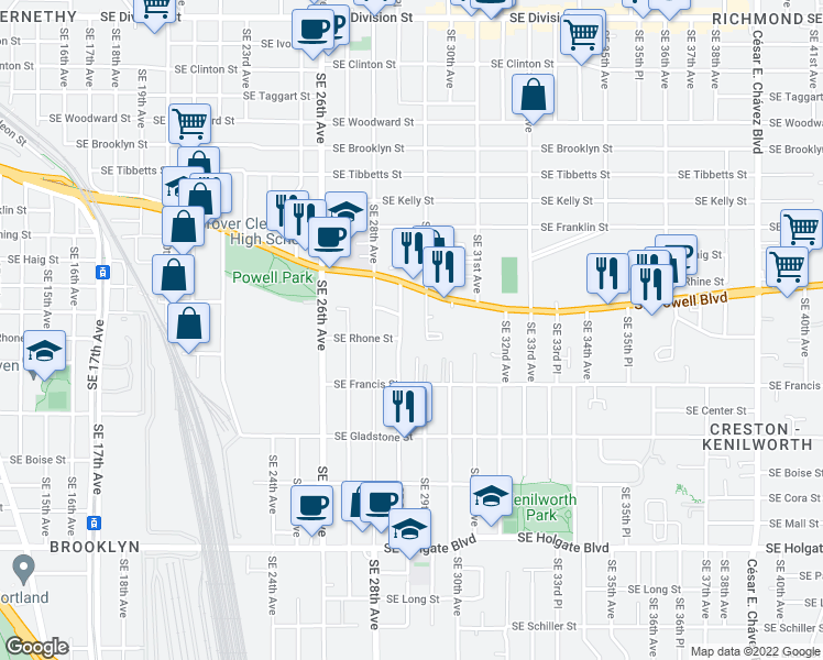 map of restaurants, bars, coffee shops, grocery stores, and more near 3612 Southeast 28th Place in Portland