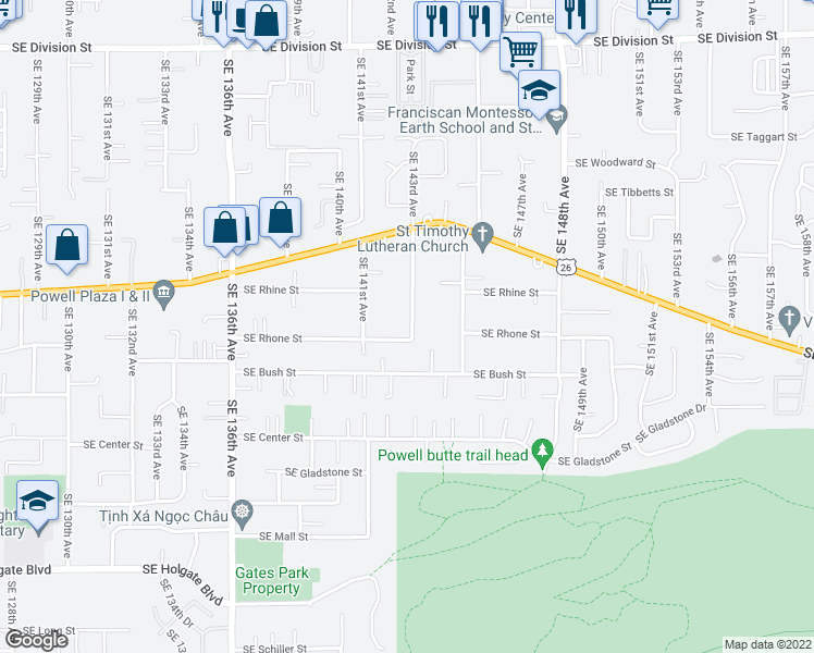 map of restaurants, bars, coffee shops, grocery stores, and more near 3615 Northeast 14th Avenue in Portland