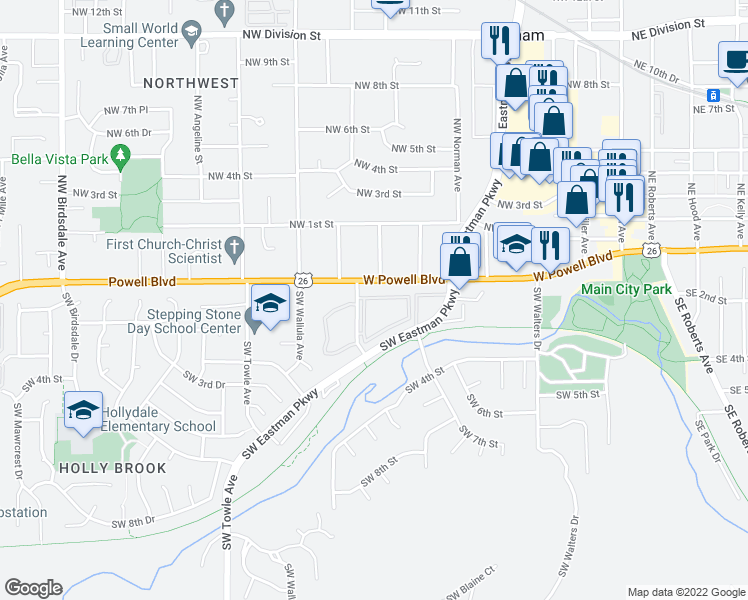 map of restaurants, bars, coffee shops, grocery stores, and more near 165 Southwest Eastman Parkway in Gresham