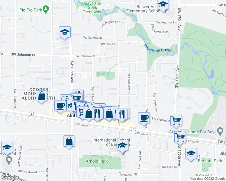 map of restaurants, bars, coffee shops, grocery stores, and more near 17894 Southwest Arbela Court in Beaverton