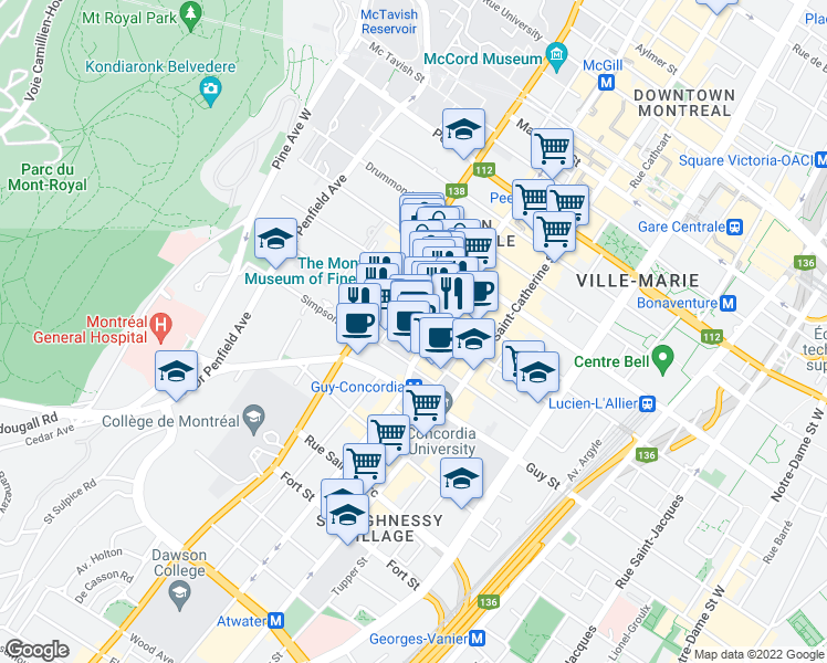 map of restaurants, bars, coffee shops, grocery stores, and more near 1455 Boulevard de Maisonneuve Ouest in Montréal