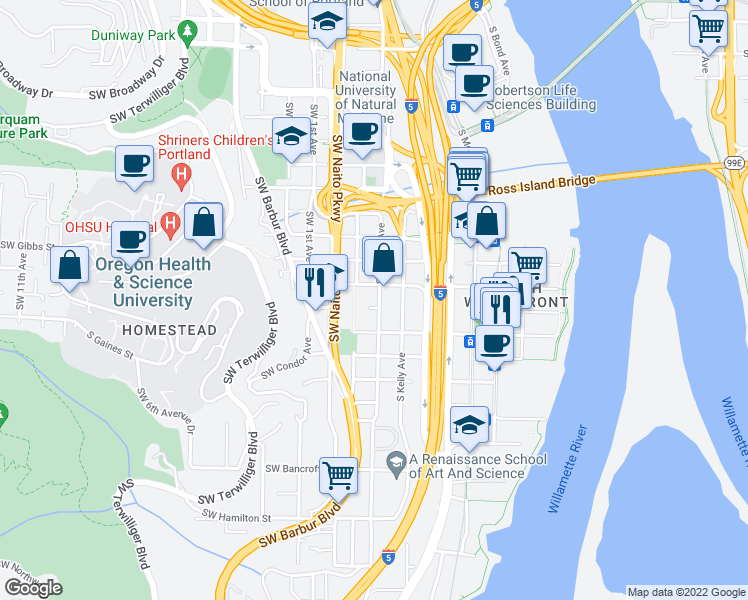 map of restaurants, bars, coffee shops, grocery stores, and more near 3535 Southwest Corbett Avenue in Portland
