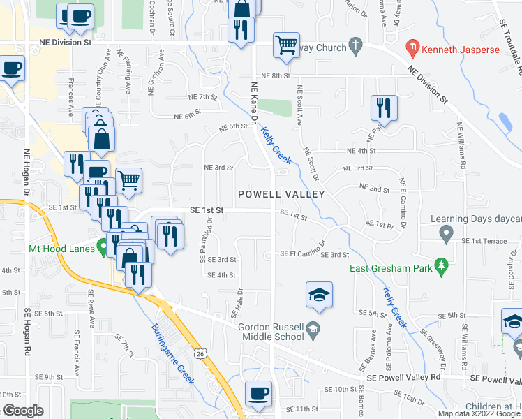 map of restaurants, bars, coffee shops, grocery stores, and more near 3204 Northeast 2nd Court in Gresham