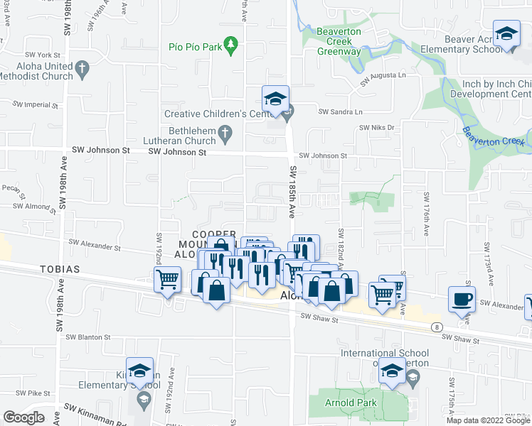 map of restaurants, bars, coffee shops, grocery stores, and more near 18607 Southwest Mapleoak Lane in Aloha