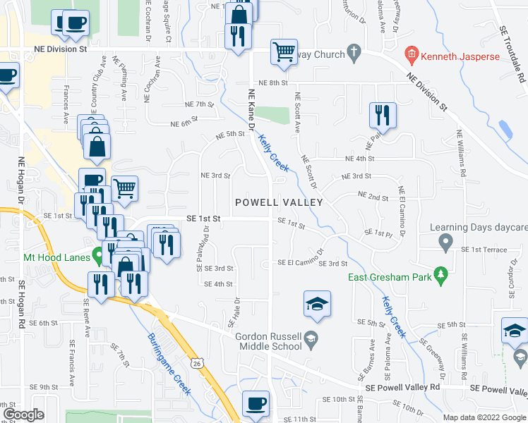 map of restaurants, bars, coffee shops, grocery stores, and more near 3235 Southeast 1st Street in Gresham