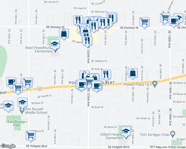 map of restaurants, bars, coffee shops, grocery stores, and more near 3302 Southeast 122nd Avenue in Portland