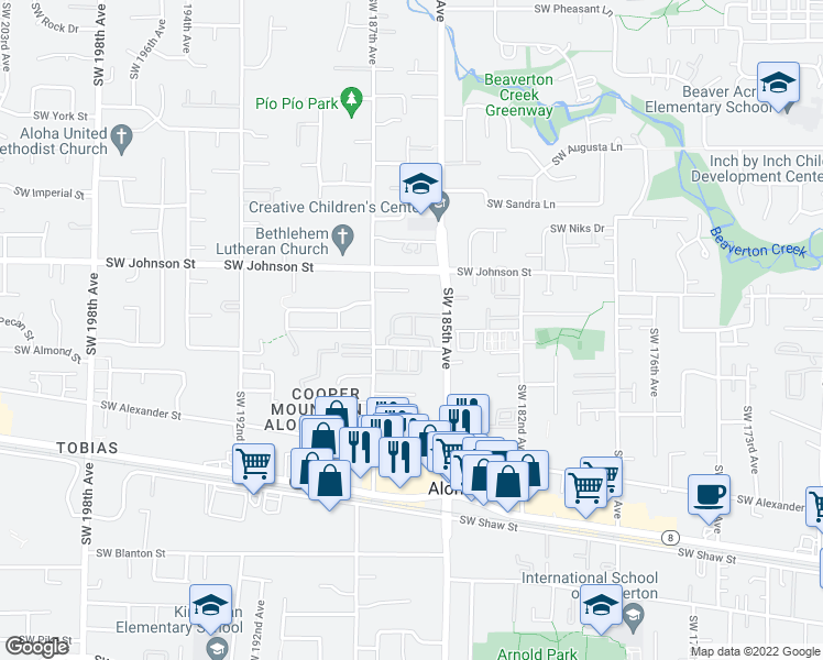map of restaurants, bars, coffee shops, grocery stores, and more near 18505 Southwest Stubblefield Way in Beaverton