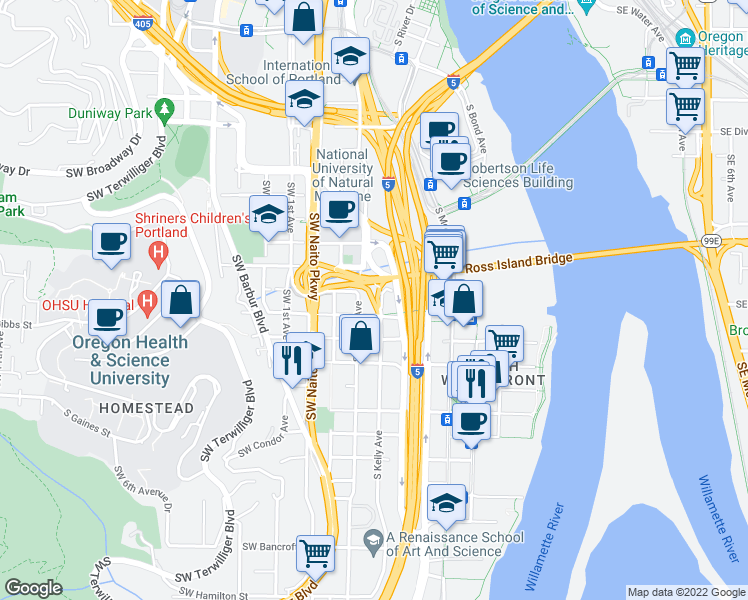 map of restaurants, bars, coffee shops, grocery stores, and more near Southwest Gibbs Street in Portland