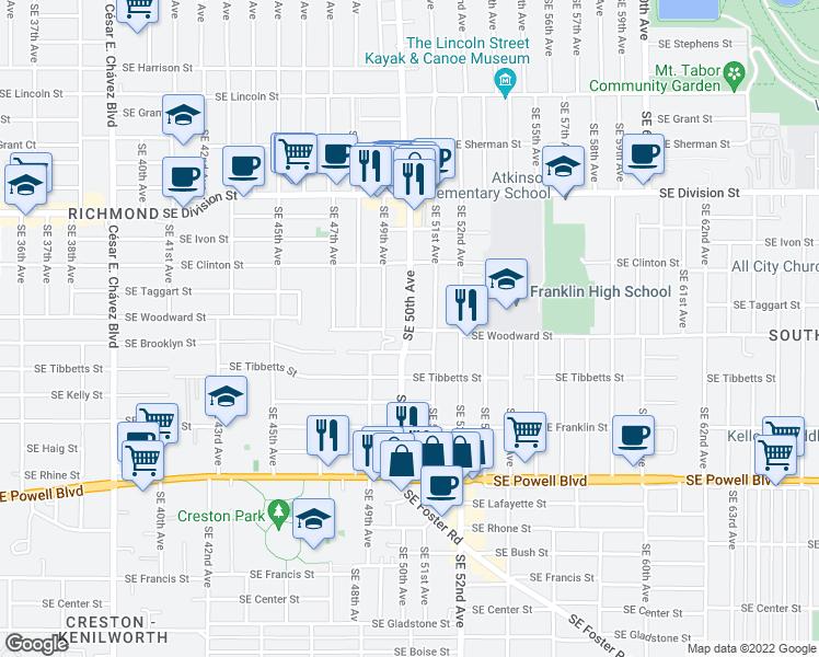 map of restaurants, bars, coffee shops, grocery stores, and more near Southeast Woodward Street & Southeast 50th Avenue in Portland