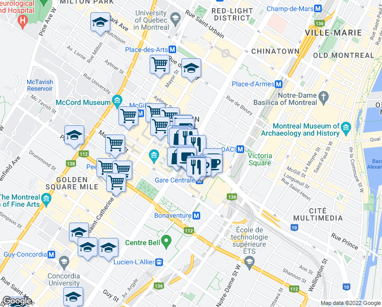 map of restaurants, bars, coffee shops, grocery stores, and more near in Montreal