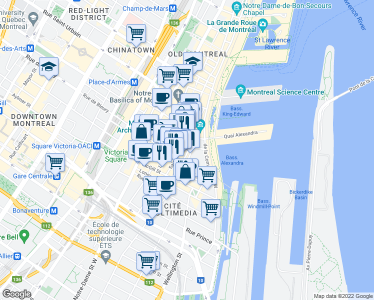 map of restaurants, bars, coffee shops, grocery stores, and more near 285 Place d'Youville in Montréal