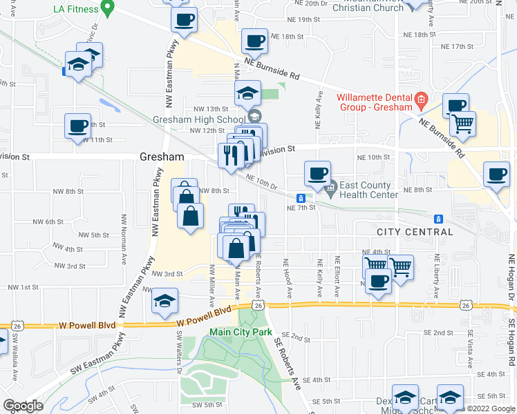 map of restaurants, bars, coffee shops, grocery stores, and more near 713 Northeast Roberts Avenue in Gresham