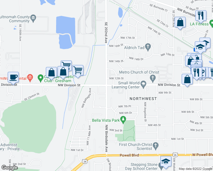 map of restaurants, bars, coffee shops, grocery stores, and more near 1132 Northwest Birdsdale Avenue in Gresham