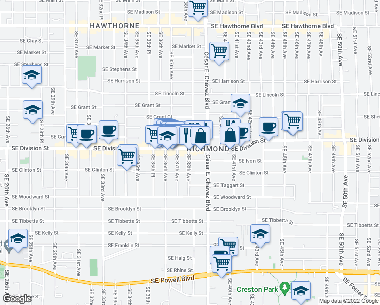 map of restaurants, bars, coffee shops, grocery stores, and more near 3810 Southeast Division Street in Portland