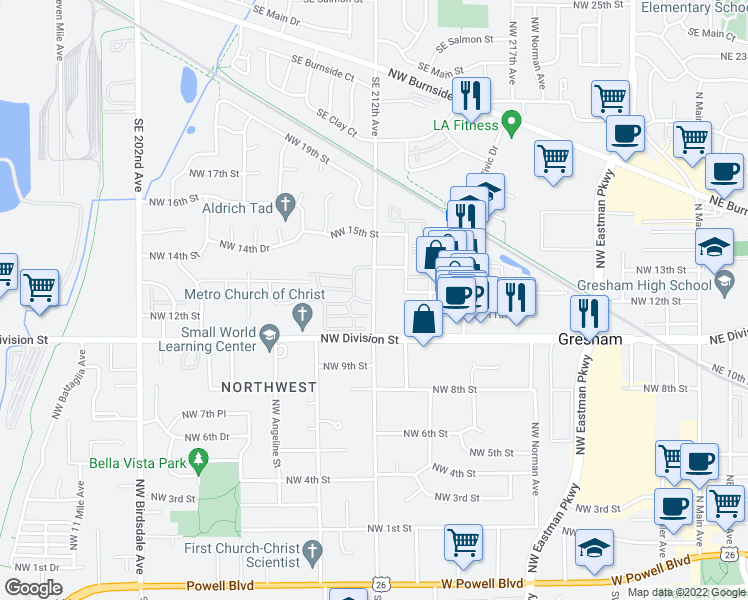 map of restaurants, bars, coffee shops, grocery stores, and more near 1167 Northwest Wallula Avenue in Gresham