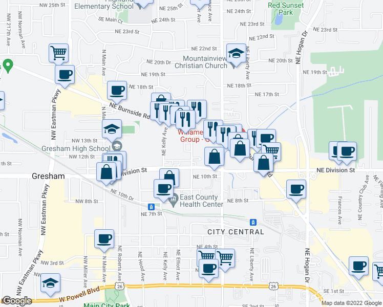 map of restaurants, bars, coffee shops, grocery stores, and more near 1209 Northeast Linden Avenue in Gresham