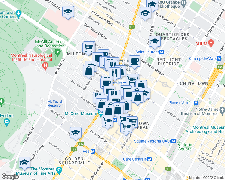 map of restaurants, bars, coffee shops, grocery stores, and more near 420 Rue Sherbrooke Ouest in Montréal