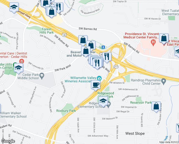 map of restaurants, bars, coffee shops, grocery stores, and more near 10221 Southwest Eastridge Street in Portland