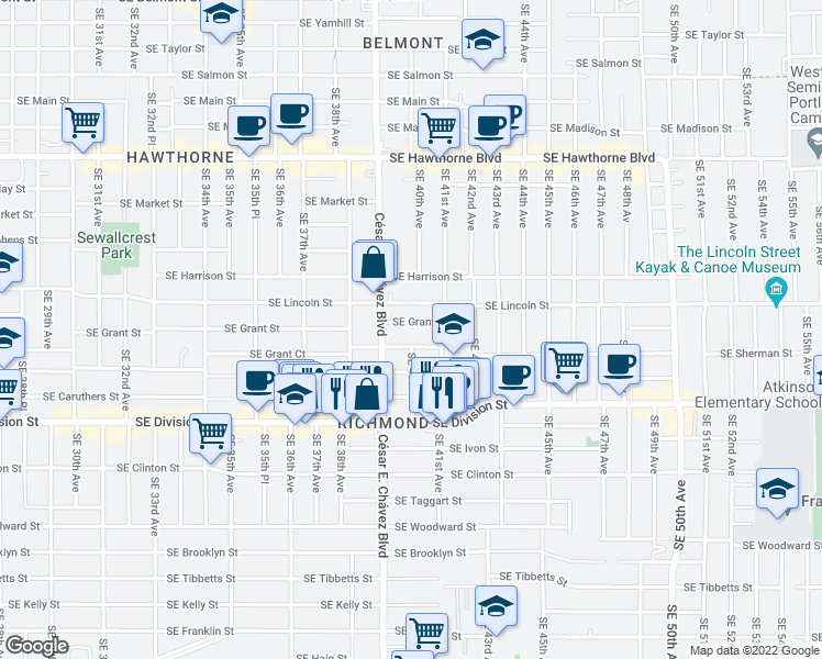 map of restaurants, bars, coffee shops, grocery stores, and more near 3954 Southeast Grant Street in Portland