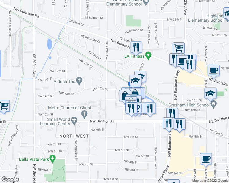 map of restaurants, bars, coffee shops, grocery stores, and more near 1112 Northwest 15th Street in Gresham