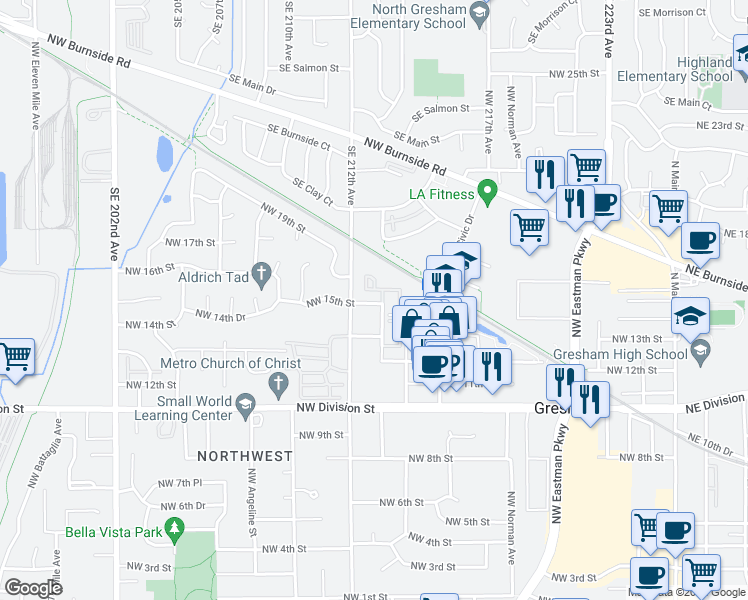 map of restaurants, bars, coffee shops, grocery stores, and more near 1107 Northwest 15th Street in Gresham