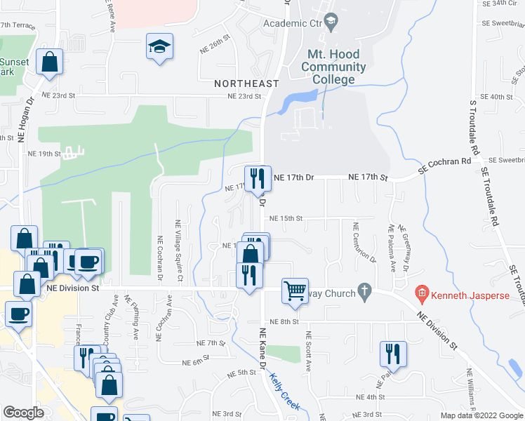 map of restaurants, bars, coffee shops, grocery stores, and more near Northeast Kane Drive in Gresham
