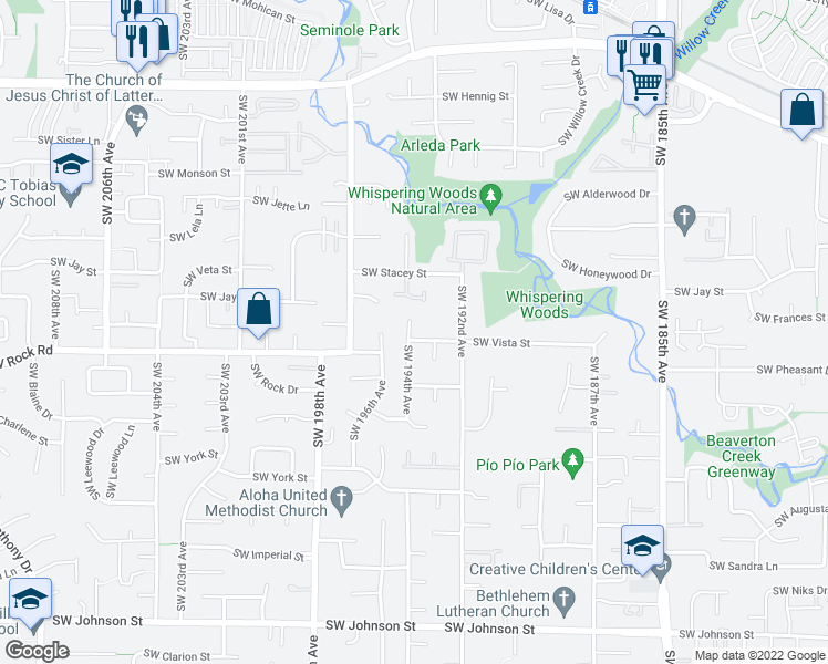 map of restaurants, bars, coffee shops, grocery stores, and more near 1570 Southwest 194th Avenue in Beaverton