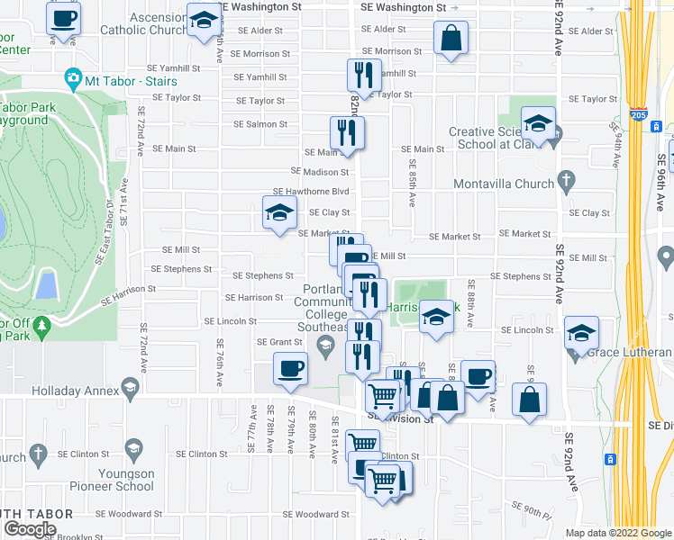 map of restaurants, bars, coffee shops, grocery stores, and more near 8130 Southeast Mill Street in Portland