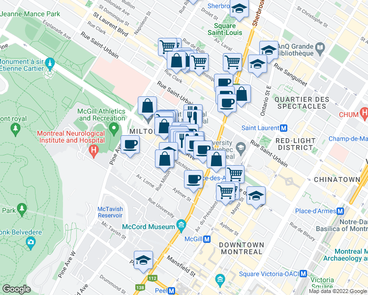 map of restaurants, bars, coffee shops, grocery stores, and more near Rue Milton in Montréal