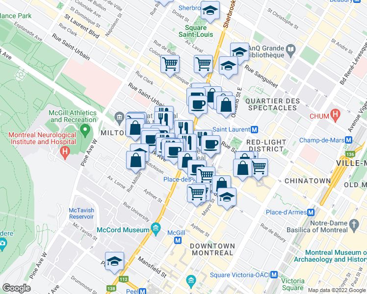 map of restaurants, bars, coffee shops, grocery stores, and more near 235 Rue Sherbrooke Ouest in Montréal