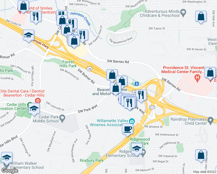 map of restaurants, bars, coffee shops, grocery stores, and more near 10550 SW Butner Rd in Portland