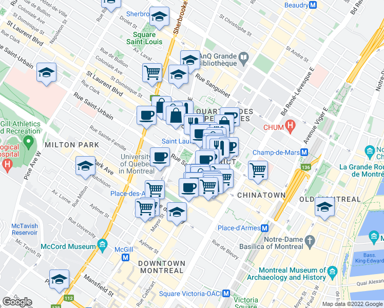 map of restaurants, bars, coffee shops, grocery stores, and more near 1500 Rue de Montigny in Montréal
