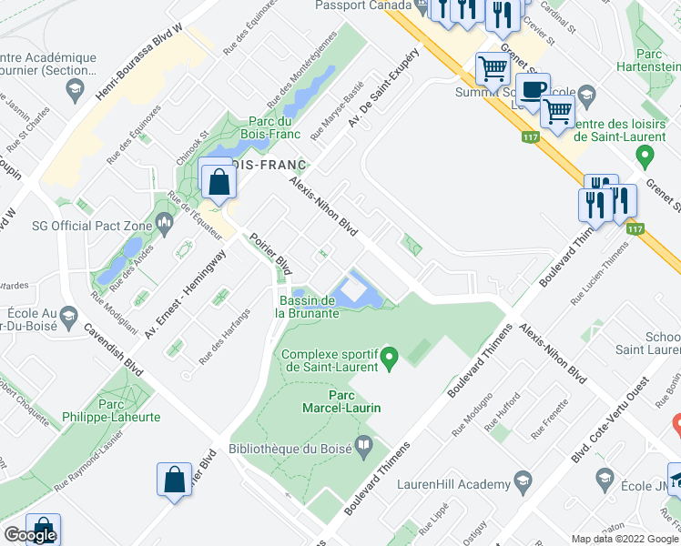 map of restaurants, bars, coffee shops, grocery stores, and more near 2384 Rue de l'Acajou in Montréal