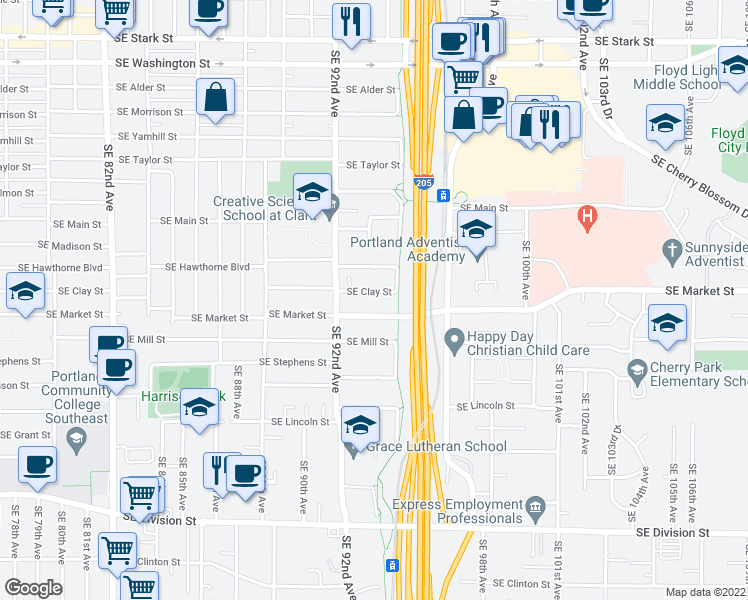 map of restaurants, bars, coffee shops, grocery stores, and more near 9272 Southeast Clay Street in Portland