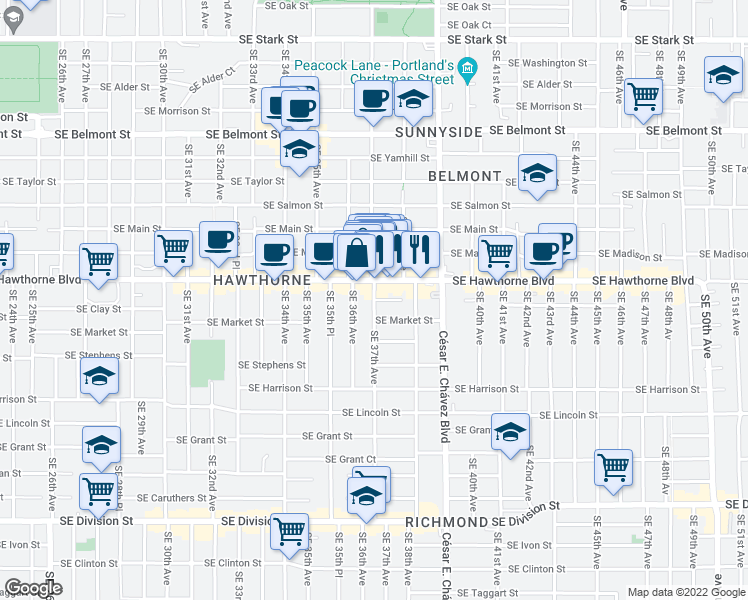 map of restaurants, bars, coffee shops, grocery stores, and more near SE 37th Ave & SE Clay St in Portland