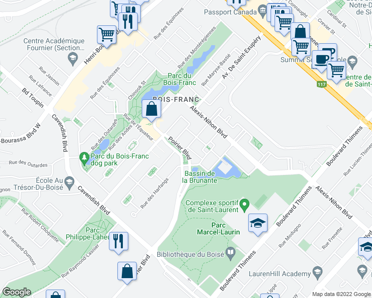 map of restaurants, bars, coffee shops, grocery stores, and more near 2454 Rue Charles-Darwin in Montréal