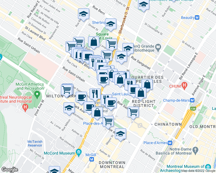 map of restaurants, bars, coffee shops, grocery stores, and more near 2120 Rue Clark in Montréal