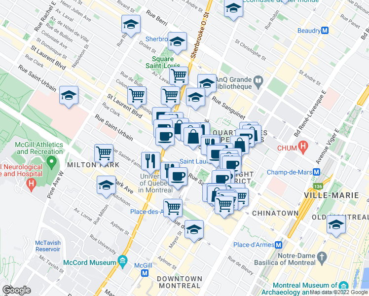map of restaurants, bars, coffee shops, grocery stores, and more near 2020 Boulevard Saint-Laurent in Montréal
