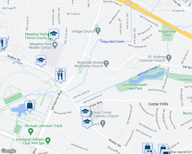 map of restaurants, bars, coffee shops, grocery stores, and more near 1010 Southwest Tropicana Avenue in Beaverton