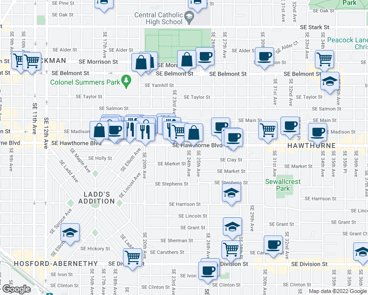 map of restaurants, bars, coffee shops, grocery stores, and more near 2390 Southeast Hawthorne Boulevard in Portland