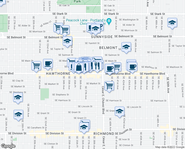 map of restaurants, bars, coffee shops, grocery stores, and more near 3766 Southeast Hawthorne Boulevard in Portland