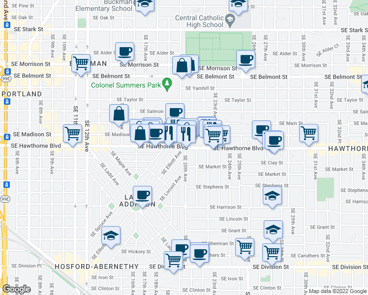 map of restaurants, bars, coffee shops, grocery stores, and more near SE 20th Ave in Portland