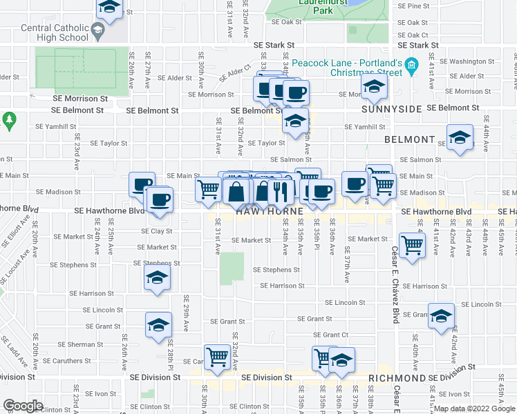 map of restaurants, bars, coffee shops, grocery stores, and more near 3267 Southeast Hawthorne Boulevard in Portland