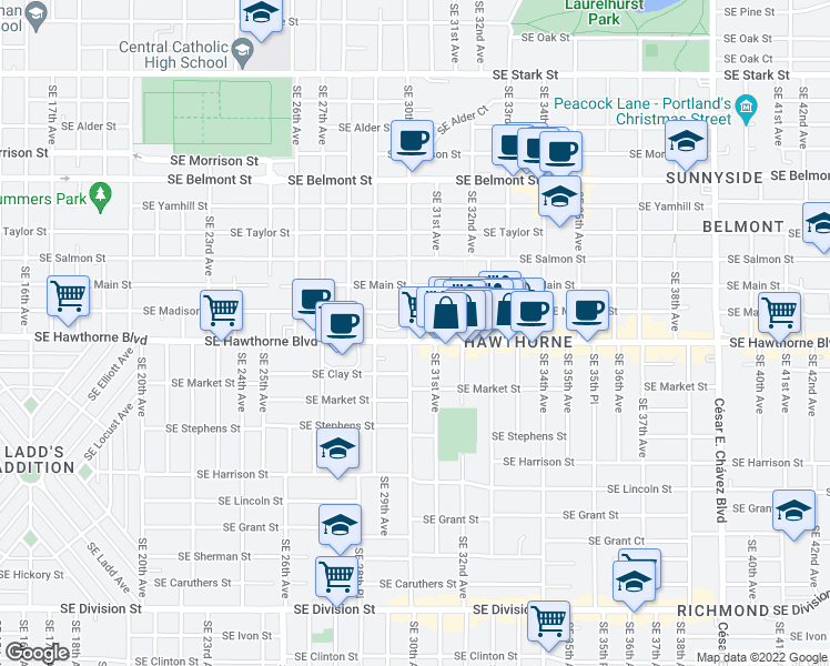 map of restaurants, bars, coffee shops, grocery stores, and more near 3013 Southeast Hawthorne Boulevard in Portland
