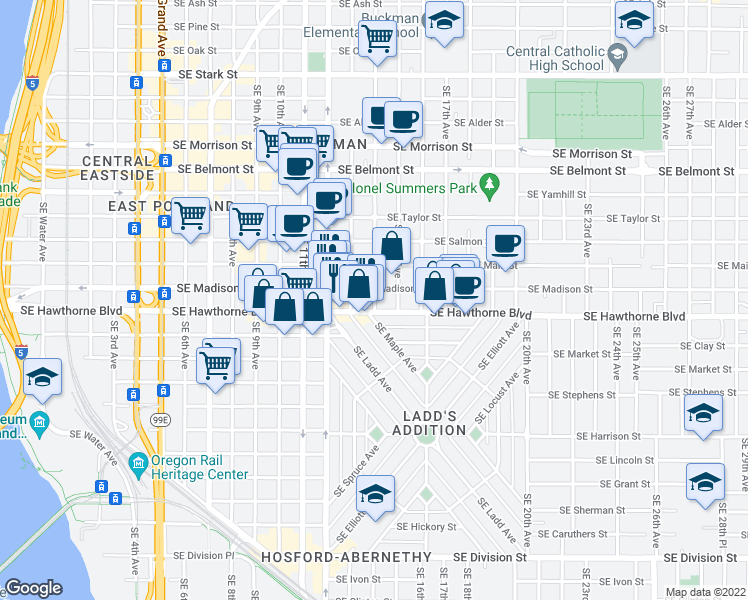 map of restaurants, bars, coffee shops, grocery stores, and more near 1475 Southeast 14th Avenue in Portland
